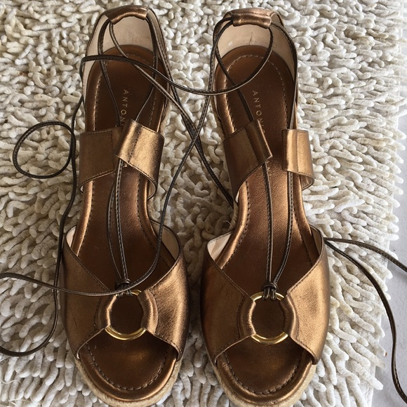 096f88a35e1 Antonio Melani gold/bronze tie-up wedges